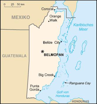 Landkarte Belize